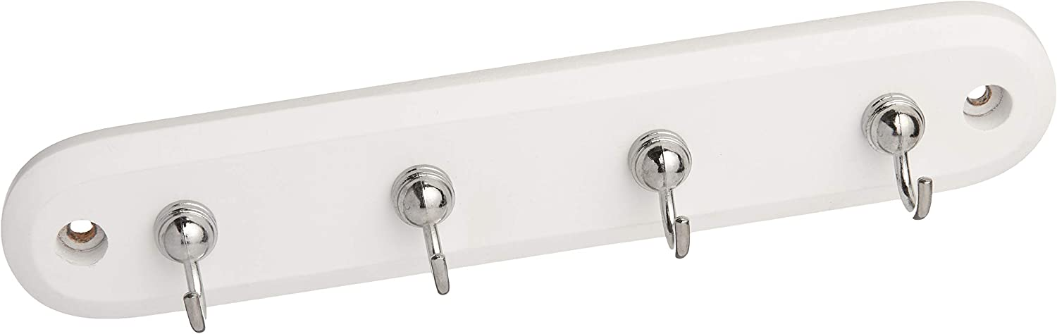 Spectrum, Modern Entryway Organizer & Wall Décor Diversified Four Key Rack, Wood Hooks, White/Chrome