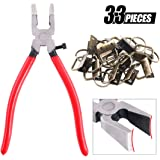 "Swpeet 32 Sets 1"" 25mm Key Fob Hardware with 1Pcs Key Fob Pliers, Glass Running Pliers Tools with Curved Jaws, Studio Running Pliers Attach Rubber Tips Perfect for Key Fob Hardware Install (Bronze)"