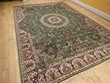 Stunning Qum Silk Area Rugs 5×8 Living Room Green Rugs 5×7 Dining Room Olive Cream Reds Area Rug (Medium 5'x8′) Review