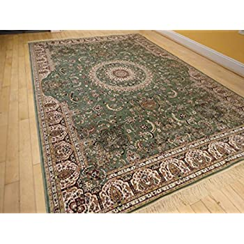 This Item Stunning Green Silk Rug Persian Area Rugs Living Room 7x10 Dining Olive 6x9 Floral Shiny Soft Carpet