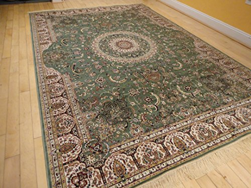 Stunning Green Silk Rug Persian Area Rug Large Rugs 8x12 Green Rugs Persian Qum Silk Greenish Living Room Rugs Dining Room Floor Rug Green, Large 8'x10.6'