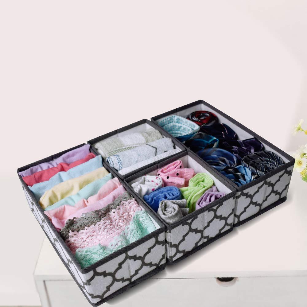 homyfort Dresser Drawer Organizers,Foldable Cube Storage Bins Dividers for Baby Clothes,Underwear,Bras,Ties,Socks Set of 6 White with Grey Lantern Printing
