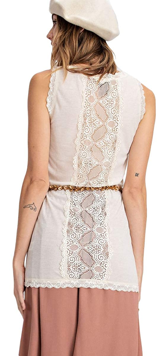 d60243cc708 Easel Fitted Sheer Back Lace Tank Top Tunic Beautiful Layering Piece at  Amazon Women's Clothing store: