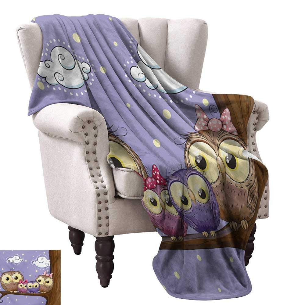 color02 70 Wx84 L WinfreyDecor Kids Decorative Throw Blanket Cartoon Style Night Sky with Swirled Clouds Stars and Moon Dotted Lines Sofa Chair 60  Wx60 L Dark bluee White Salmon