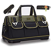 FASTECH 15-inch Wide Mouth Tool Bag with Water Proof Molded Base,Wide Mouth Tool Tote Bag,Waterproof Tool Organizer Bag…