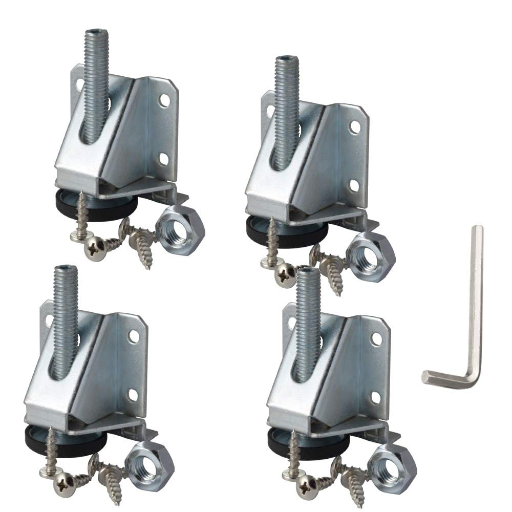 Heavy Duty Leveler Legs w/Lock Nuts - 8,000 Lb. Capacity Leveling Feet for Furniture, Cabinets, Workbench - 4 Pack