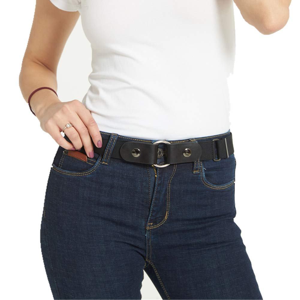 Buckle-free Elastic Belt for Women/Men Stretch Belt for Jeans Pants Up to 52''