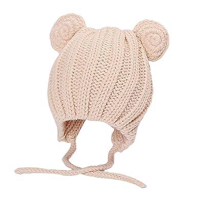 255a729ac4dc Boomly Unisexe Bébé Chapeau à Tricoter Mignonne Chapeau de Laine Hiver  Chaud Bonnet Casquette Chapeau de