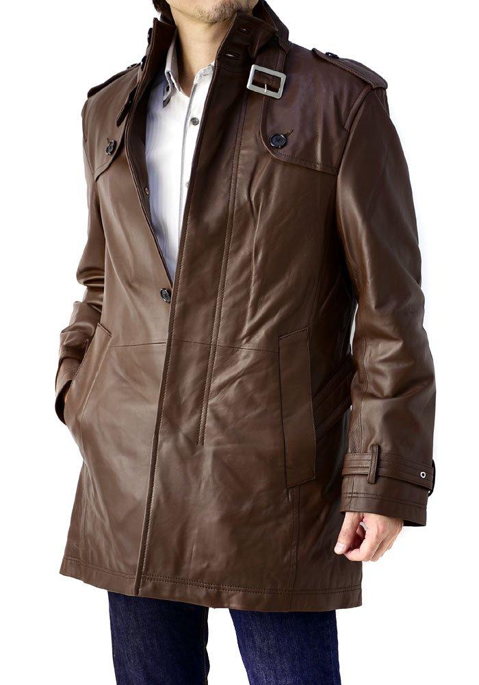 (フラグオンクルー) FLAG ON CREW レザーコート メンズ 本革 コート ラム トレンチコート シングル 大きいサイズ/K4B B01M3Y022I LL|purebrown purebrown LL