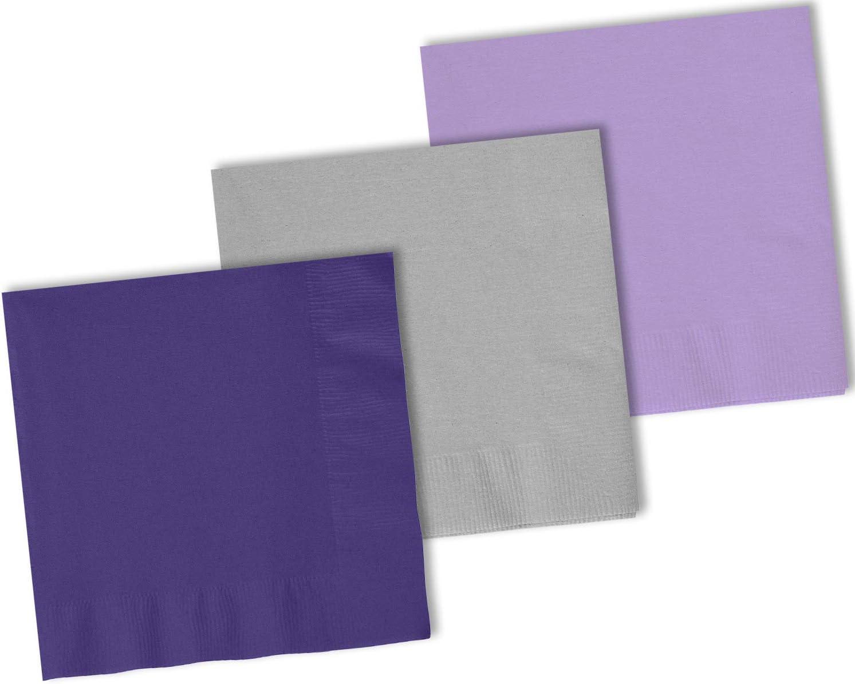 150 Beverage Napkins, Grape Purple, Shimmering Silver, Lavender - 50 Each Color. 2 Ply Paper Cocktail Napkins. 5