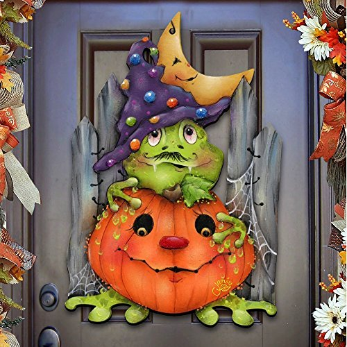 "Jamie Mills-Price Halloween ""Jeepers Creepers"" Wooden Indoor & Outdoor Wooden Hanging Door Decorations & Wall Sign, For Home, School, Party #8457403H -"
