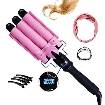 Fer à Boucler Cheveux 3 Tubes Écran LCD Fer à Friser 25mm Réglable100°C- 93e4022b2c0