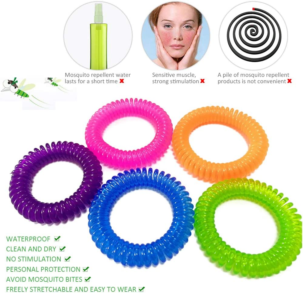 100/% Naturel Huiles Anti-moustiques Bracelet Mosquito R/épulsifs Jusqu/à 300 Heures de Protection DAZISEN /Étanche Bracelet Anti Moustique