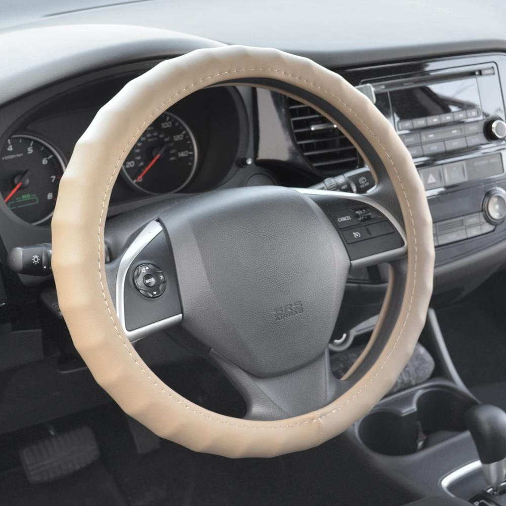 14.5-15.5 100/% Leather Steering Wheel Cover with Grip Contours BDK SW-899-MK Black Medium