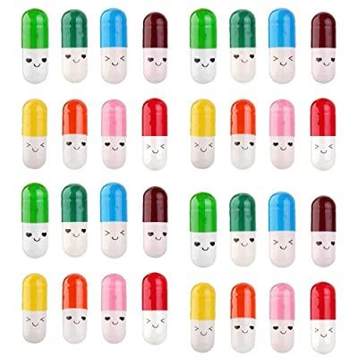 FSYEEL 200 Pieces Cute Smiling Face Love Friendship Half Color Pill Tiny Message Capsule Letter: Baby