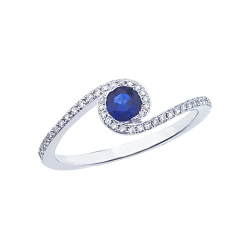 a46632f0e Amazon.com: 0.42 Carat ctw 14k Gold Round Blue Sapphire & Diamond Bypass  Halo Fashion Promise Engagement Ring: Jewel Tie: Jewelry