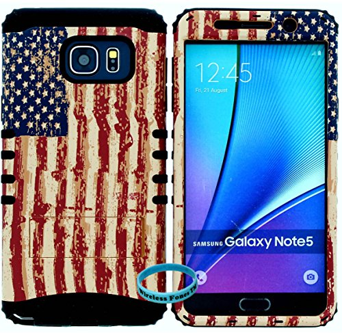Galaxy Note 5 Case, [Wireless Fones TM Wristband Included] Hybrid Rugged Armor Kickstand Shock Proof Resistant Grip Cover for Galaxy Note 5 (USA Flag / Black) from wireless fones