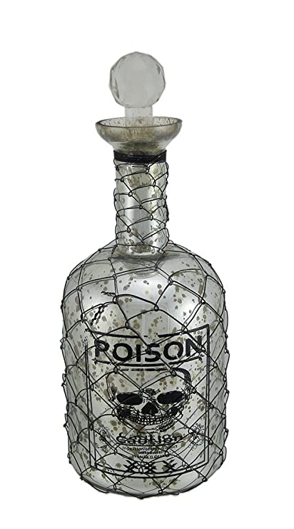 Botellas de vidrio decorativo botella de veneno de cráneo de malla de alambre cubiertos plata (