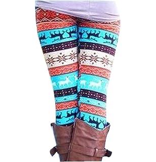 SMILEQ Xmas Leggings Fashion Lady Elasticity Skinny Printed Stretchy Pants