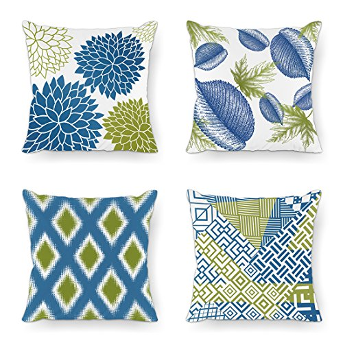 Moyun Minimalist Living Series Blue & Green Color Decorative Throw Pillow Case Cushion Cover 18