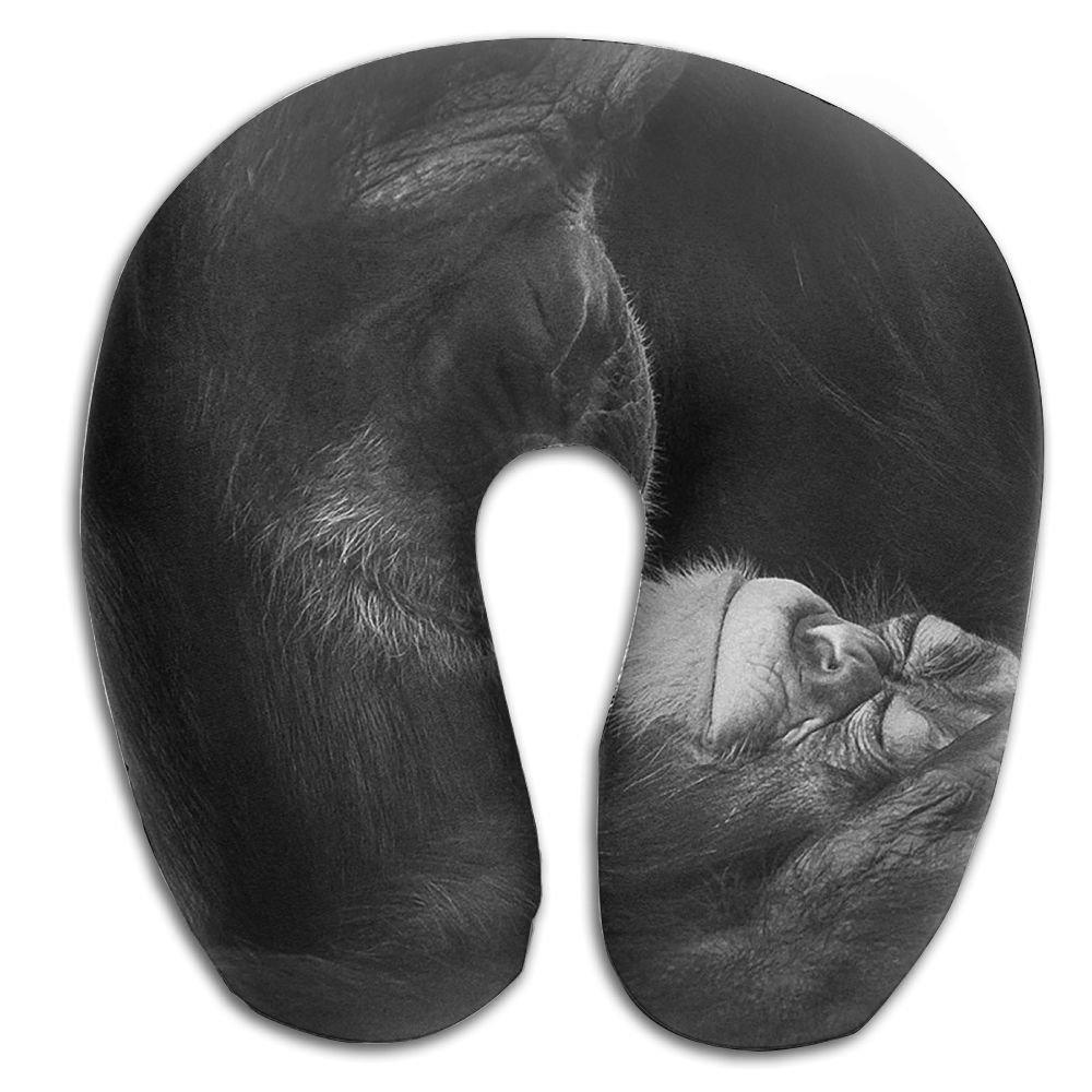 クリエイティブママと赤ちゃんチンパンジーデザインの快適U型首枕ソフトネックサポートパターンの枕残り、旅行、車、飛行機、ベッド、ソファー B0799HM6FJ