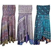 Mogul Womens Vintage Sari Two Layer Printed 2 In 1 Dress and Maxi Skirts Wholesale Lot Of 3 Pcs