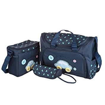 7cc2b3c7f21f Electomania® 4Pcs Baby Nappie Diaper Changing Bags Sets (Dark Blue)   Amazon.in  Bags