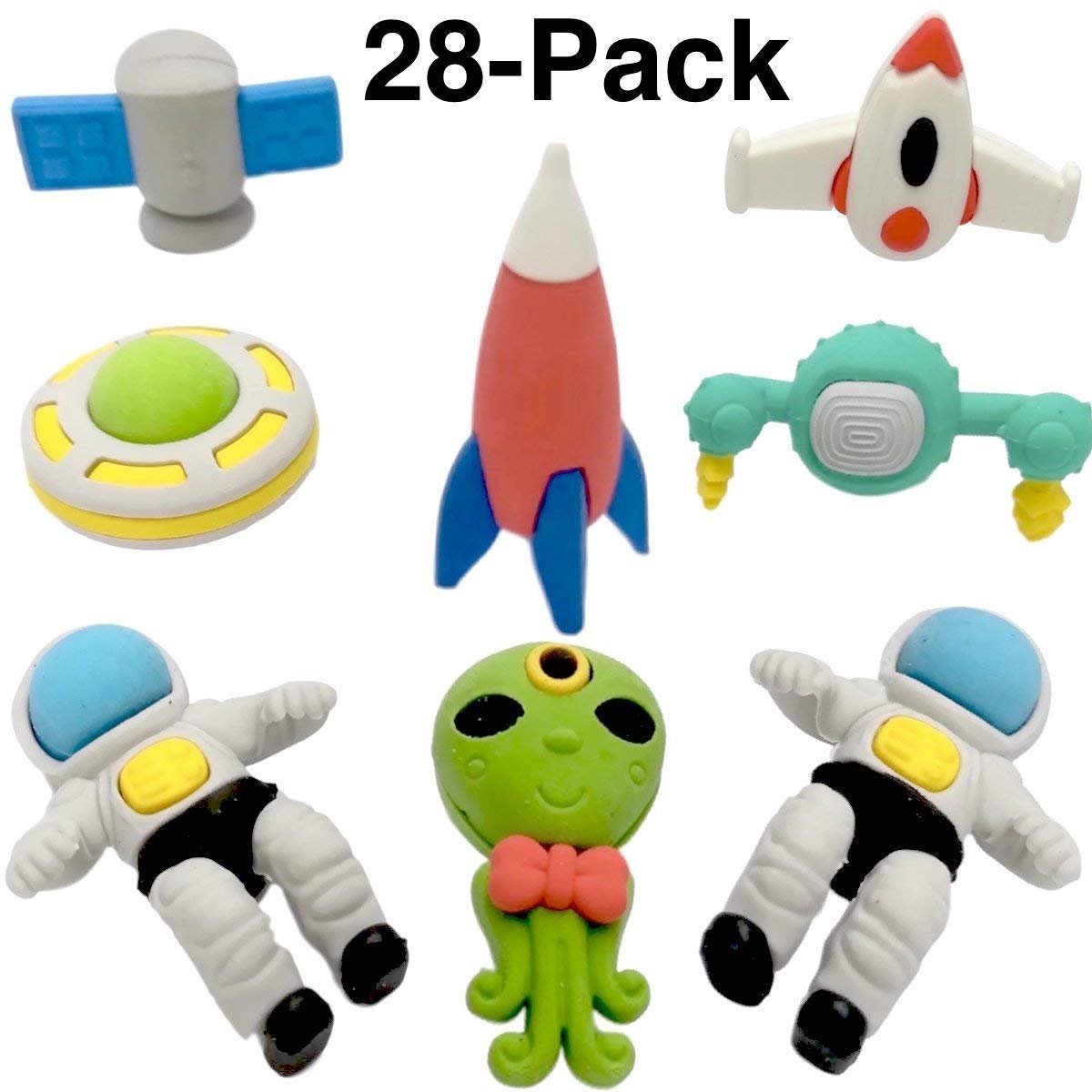 OHill Pack of 28 3D Outer Space Pencil Erasers Puzzle Erasers for Party Favors Supplies Classroom Treasure Box Prizes by OHill (Image #2)
