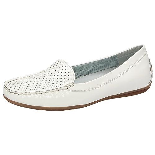 Sioux - Mocasines de charol para mujer blanco Weiß, color blanco, talla 41: Amazon.es: Zapatos y complementos