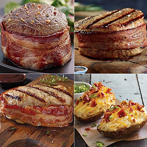 Pork Filet Mignon - Kansas City Steaks Wrapped with Love - 4 (5 oz) Top Sirloin with Bacon, 4 (6 oz) Filet Mignon with Bacon, 6 (7 oz) Bacon Wrapped Pork Chops and 8 (5 oz) Cheddar and Bacon Twice Baked Potatoes