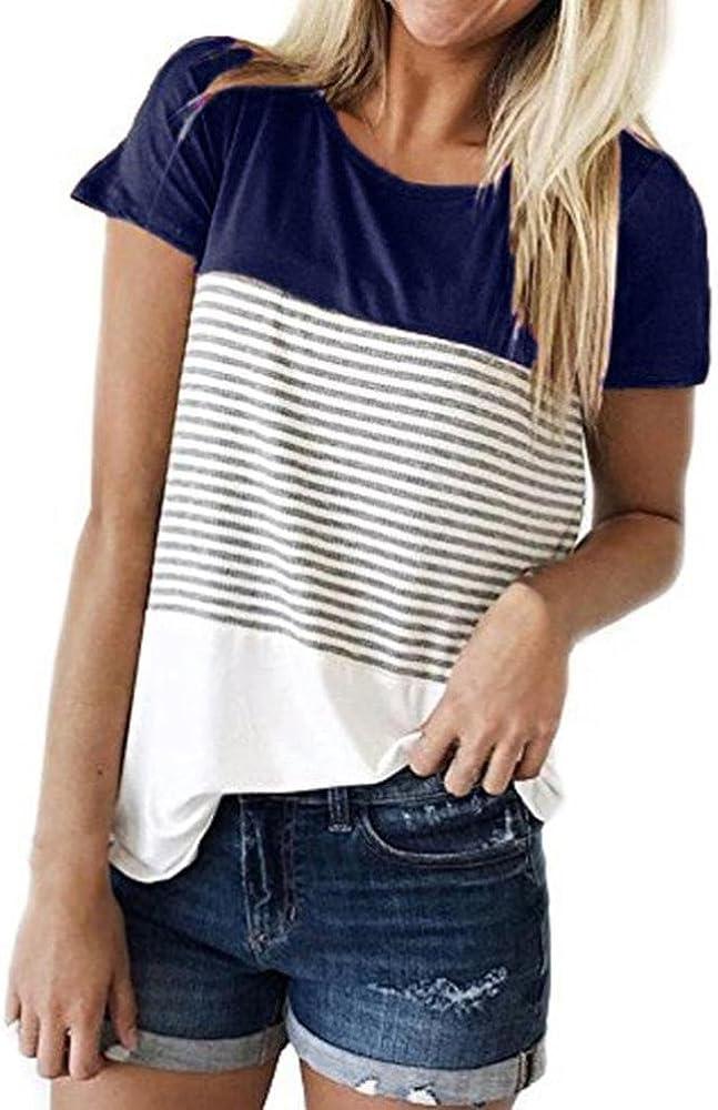 Cinnamou Camiseta para Mujer, Verano Camisetas Cortas Manga Corta Mujer Bordado de Rosas Camisas de Mujer Camisas Casual Blusas Tops T-Shirt 2018 Oferta (Azul, M): Amazon.es: Ropa y accesorios