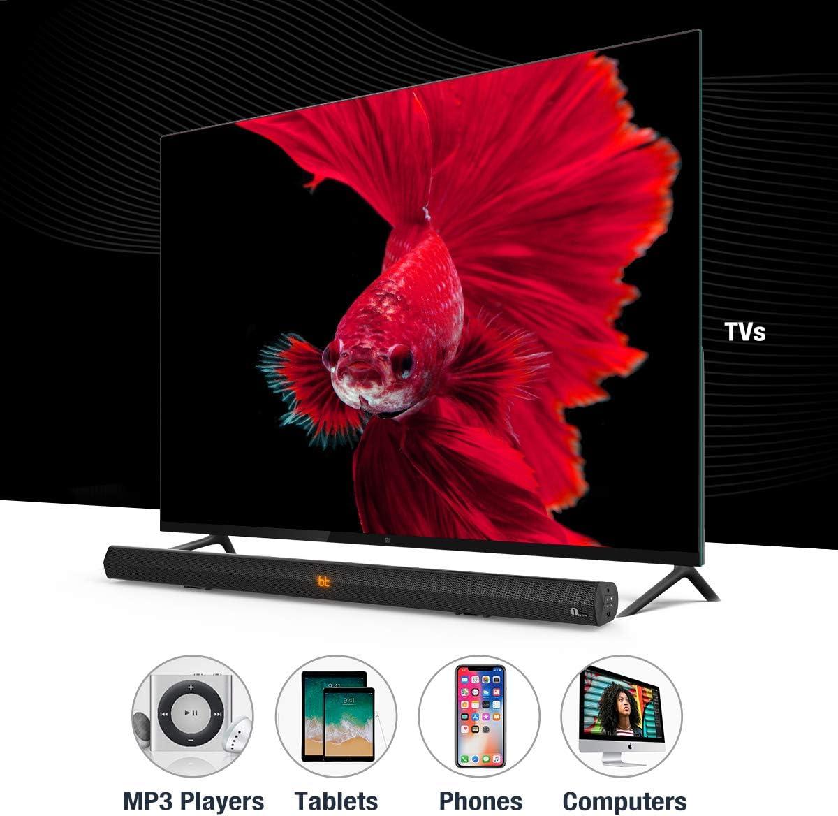 1 BY ONE Altavoz de barra Inalambrico estéreo inalámbrico para televisores, smartphones y portátiles, Altavoz dual 2.0 de 20W, múltiples puertos de conexión, montaje en pared, con control remoto: Amazon.es: Electrónica