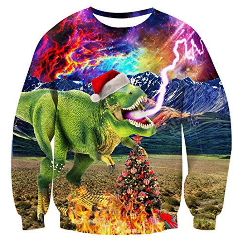 uideazone Men Women Ugly Christmas Sweatshirts Cool Galaxy Dinosaur Graphic Long Sleeve Shirt Dinosaur-2 Asia XL= US L