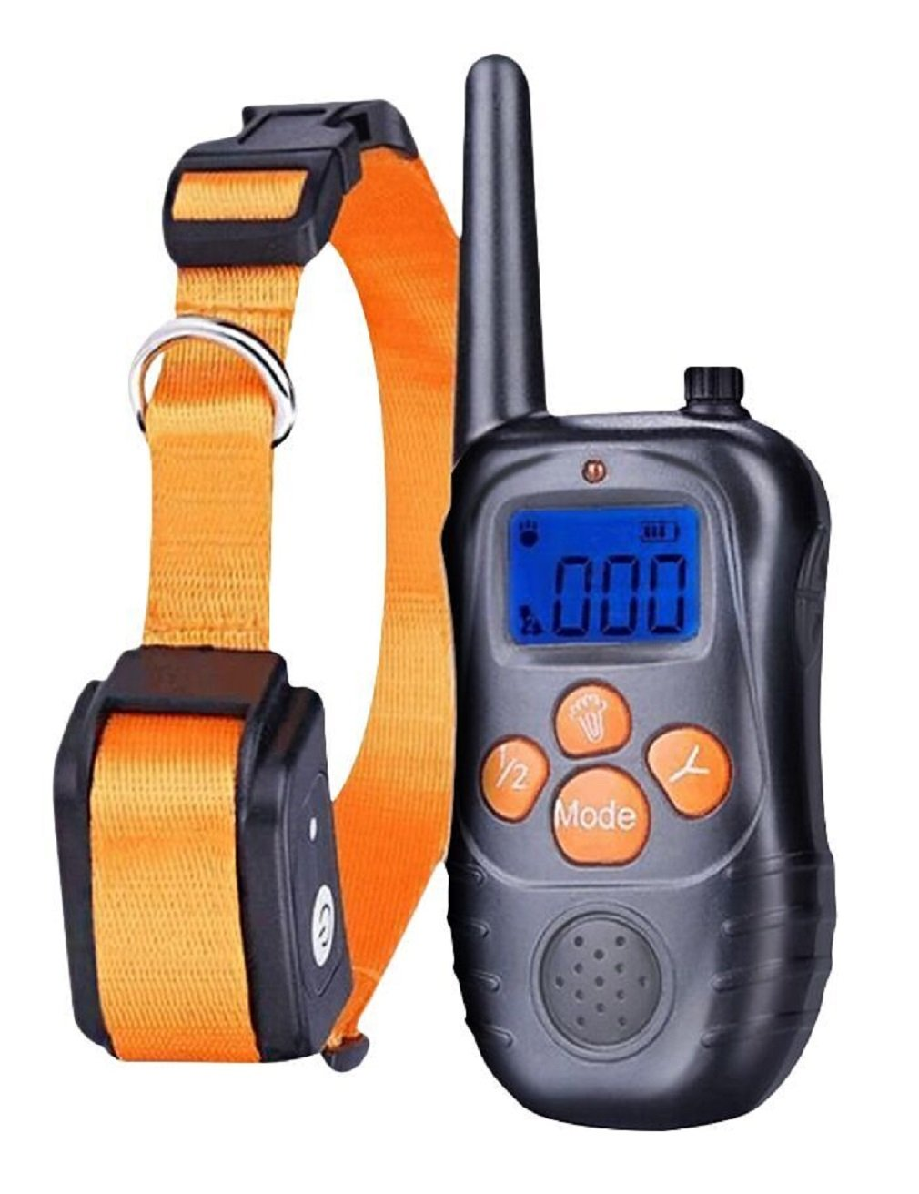 TR Dog Shock Collar Training Bark Collar- (2018 Rechargeable Backlight LCD Screen With Remote Shock/Beep/Vibration for Small Medium Large Pets … (orange dog collar)