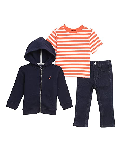 376283386 Nautica Baby Boys' Fleece Hoodie, tee and Denim Pant Set, Azul Marino  Deportivo