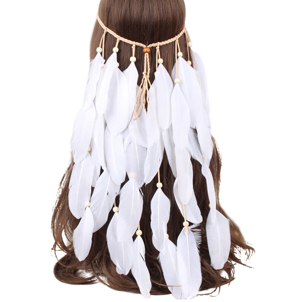 Meiwo Feather Headband Fascinator Tassels Hair Band Bohemia Peacock Feather Tassel Hippie National Style Hair Ornaments for Women Girls(White)