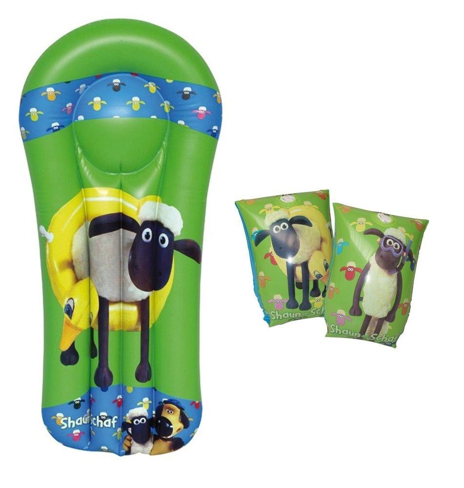 Dynamic24 Royalbeach - 2tlg Set Schwimmflugel + Luftmatratze Shaun das Schaf