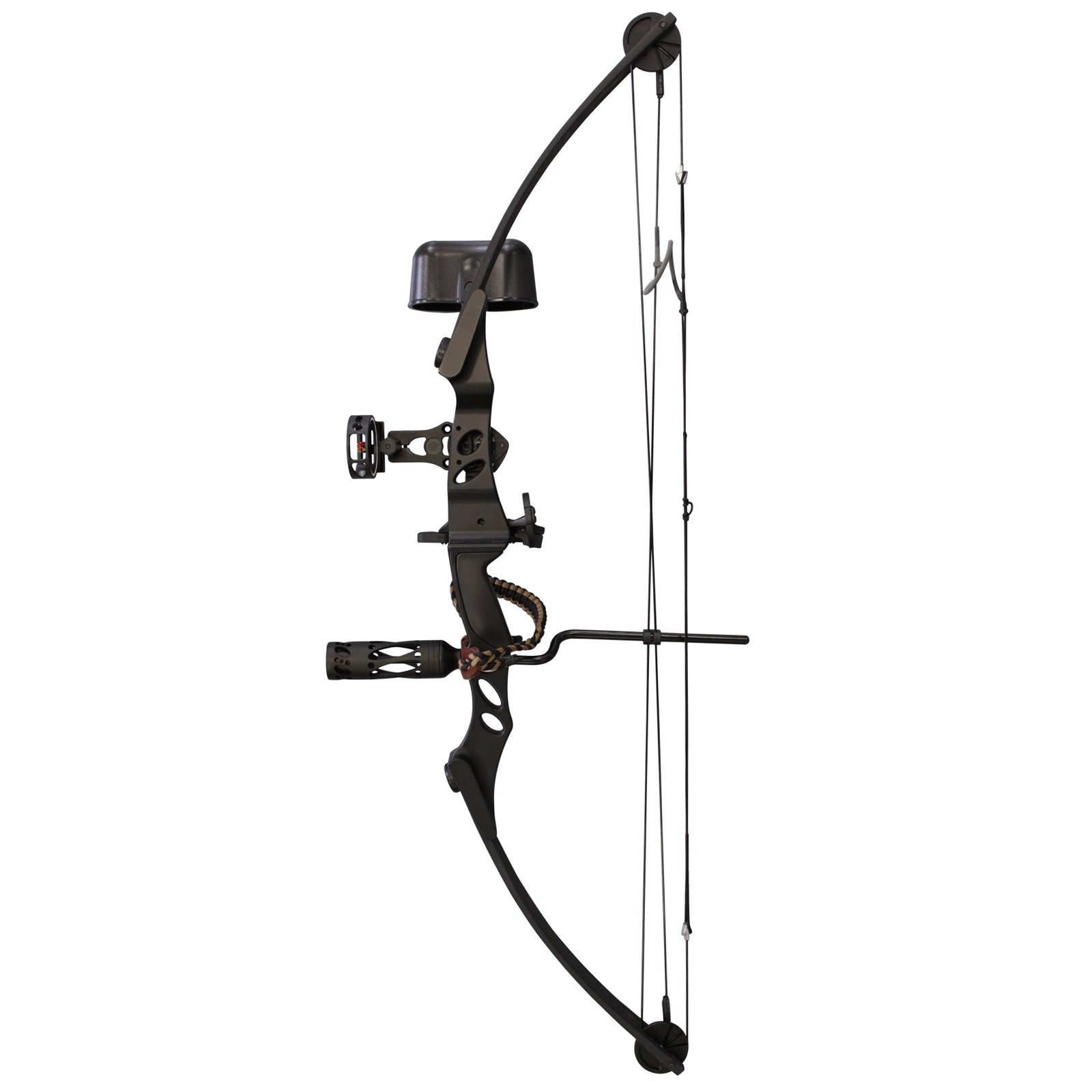 SAS Siege 55 lb Compound Bow w/ 5-Spot Paper Target (Black w/ Accessories)