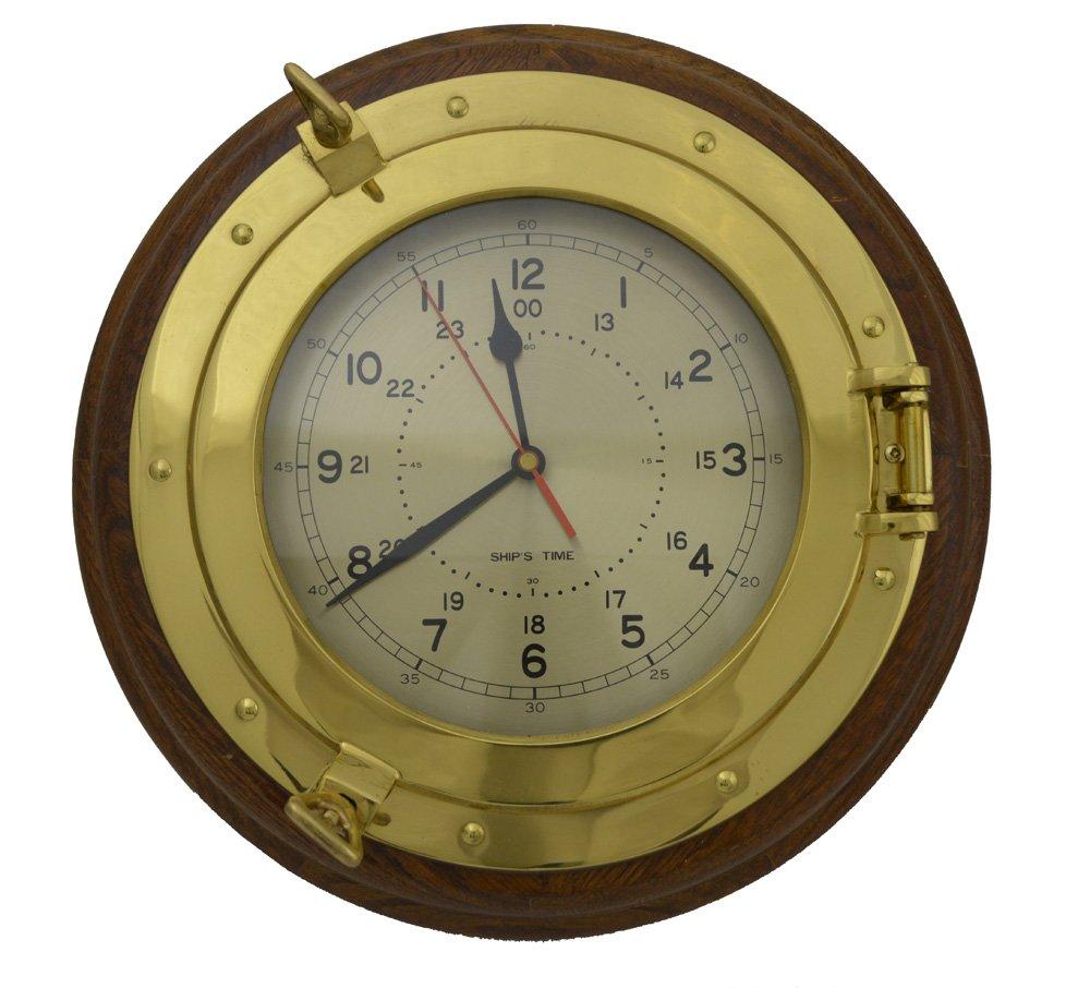 13.25''Dia Brass & Wood Desk Porthole Clock