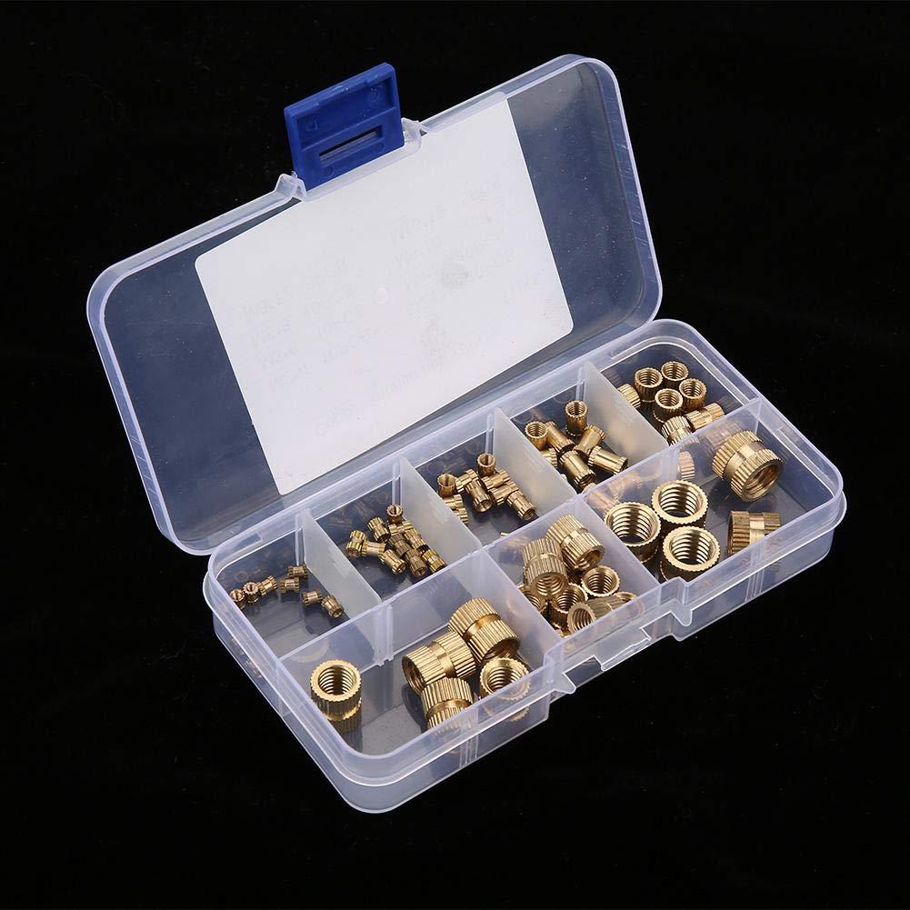 Akozon Kit de Lat/ón Tuerca Moleteada 70 piezas M2-M10 Insertos de Tuercas