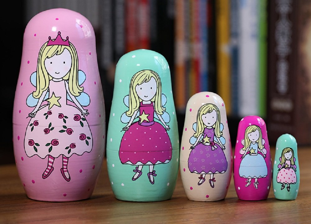 NY 5pcs Cute and Funny Pink Fairy Wooden Russian nesting dolls/Matryoshka gifts for kids