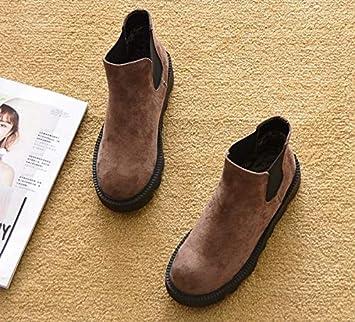 Shukun Botines Primavera y otoño Planas con Botas Martin Botas Planas Botas Individuales Botines Tobillo Corto Botas para la Nieve Zapatos de Plataforma ...
