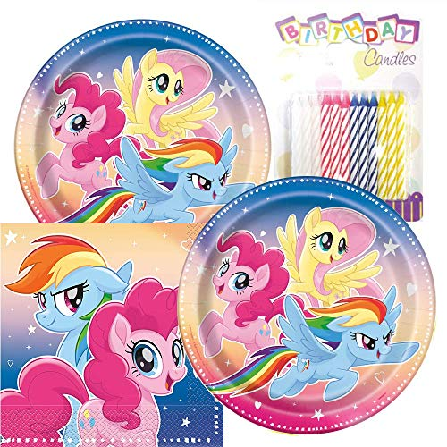 (My Little Pony Party Plates and Napkins Serves 16 With Birthday Candles )