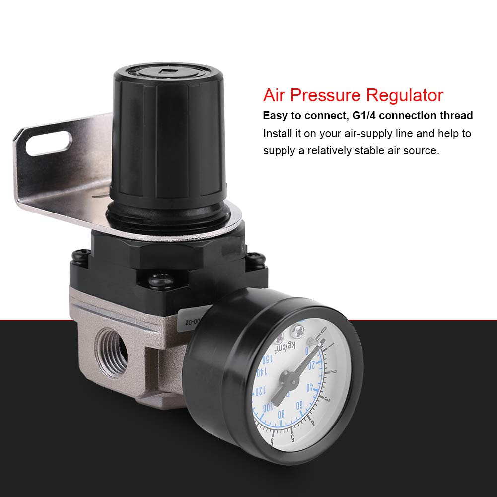 hongxinq Pneumatic Regulator Adjustable Air Pressure Compressor Control Valve Gauge G1//4 Connection