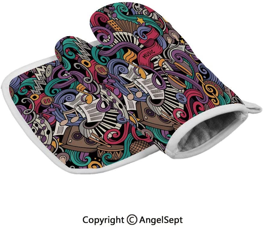 Music Themed Hand Drawn Abstract Instruments Microphone Drums Keyboard Stradivarius,Polyster Oven Mitts+Insulated Square Mat,Multicolor,Heat Resistant Kitchen Gloves