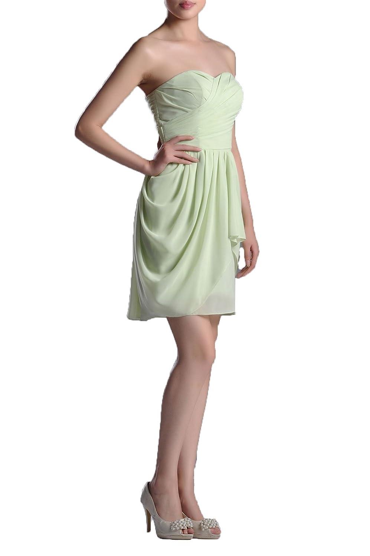 bba9eb92003f Chiffon Bridesmaid Dresses Light Green Knee Length Strapless A Line at  Amazon Women's Clothing store: