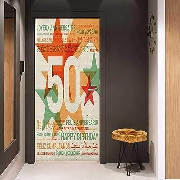 Amazon.com: Door Sticker 50th Birthday Happy Birthday in All ...