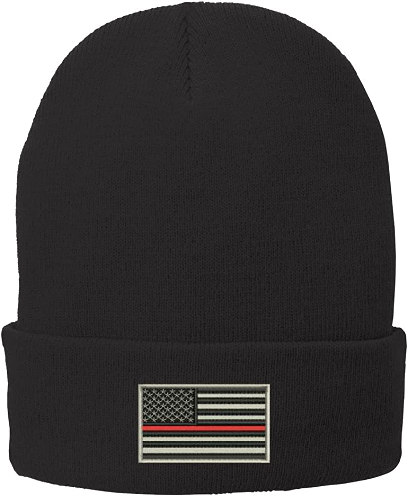 Trendy Apparel Shop US American Flag Thin Red Line Fire FD Embroidered Winter Folded Long Beanie