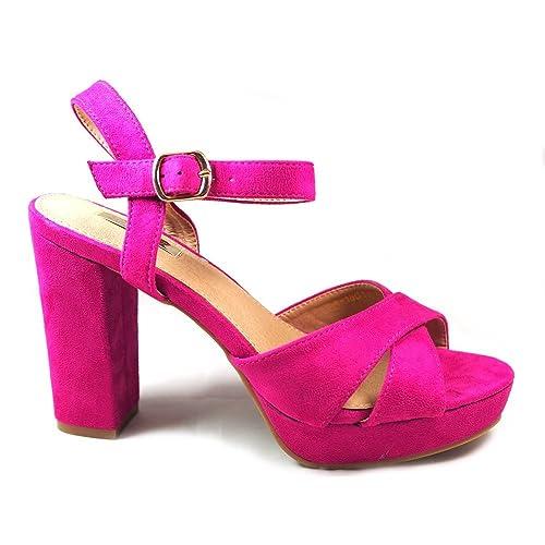6e844e97977 La Valenciana Sandalia Para Mujer Buonarotti 1A-18011 Color Rosa Fucsia Muy  Elegante con Tacón Ancho - Color - Fucsia