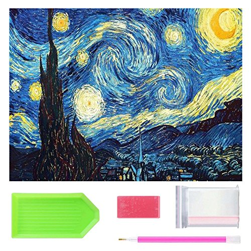 Full Drill 5D Diamond Painting 20X16 inch, OWAY Paint by Number Kits Starry Night Diamond Painting Kits for Home Wall Decor -